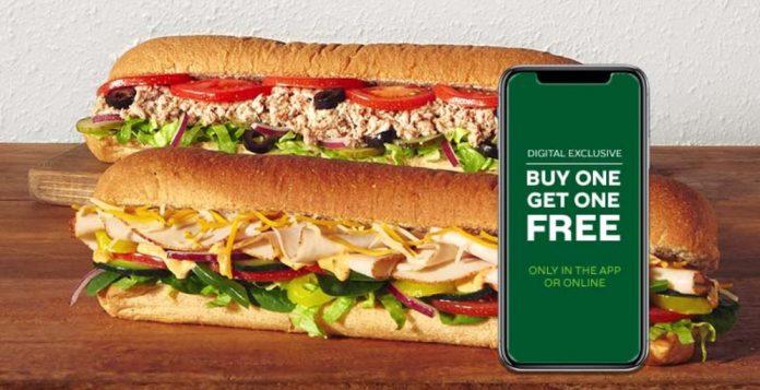 Subway Buy One Get One Free (BOGO) digital exclusive deal hero