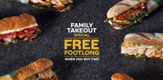 Subway Family Takeout Special Free Footlong When You Buy Two hero