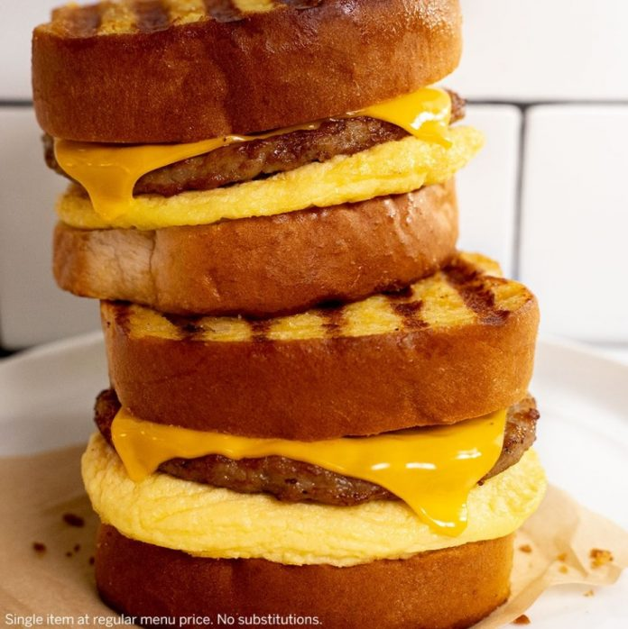 Tim Hortons New 2 For $5 French Toast Breakfast Sandwiches Deal hero