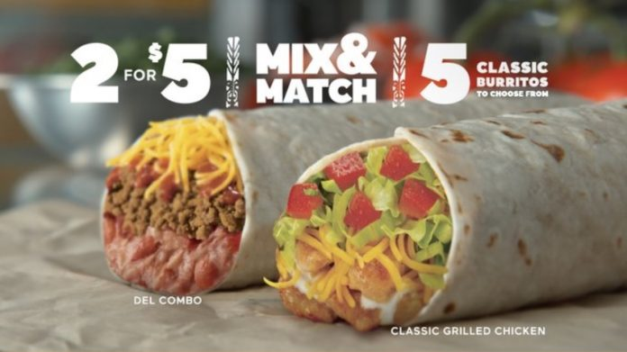 Del Taco 2 for $5 Mix and Match 5 Classic Burritos Deal hero