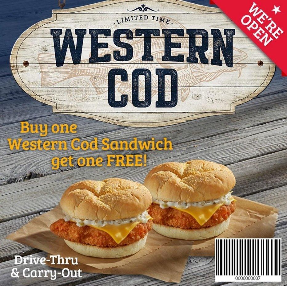 Roy Rogers Western Cod Buy One Get One Free deal bar code