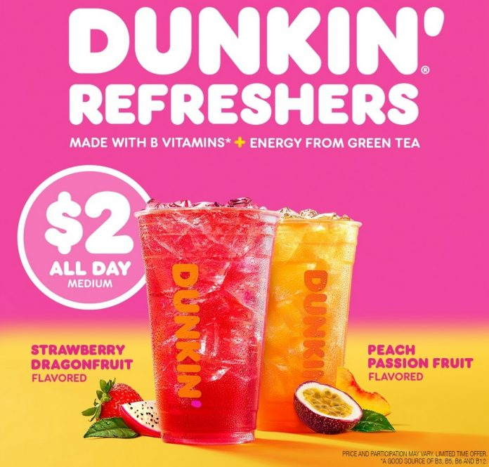 Dunkin' New Strawberry Dragonfruit And Peach Passion Fruit Refreshers hero