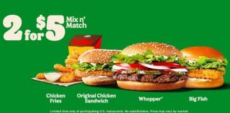 Burger King New 2 For $5 Mix Or Match Deal hero