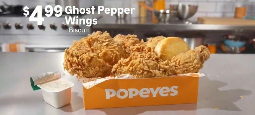 Popeyes new $4.99 Ghost Pepper Wings Box