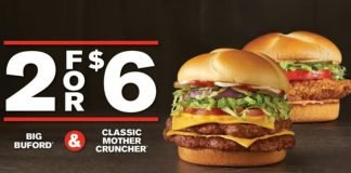 Checkers And Rally's Put Together New 2 For $6 Big Buford And Classic Mother Cruncher Deal