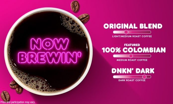 Dunkin' Brews New 100% Colombian Hot Coffee