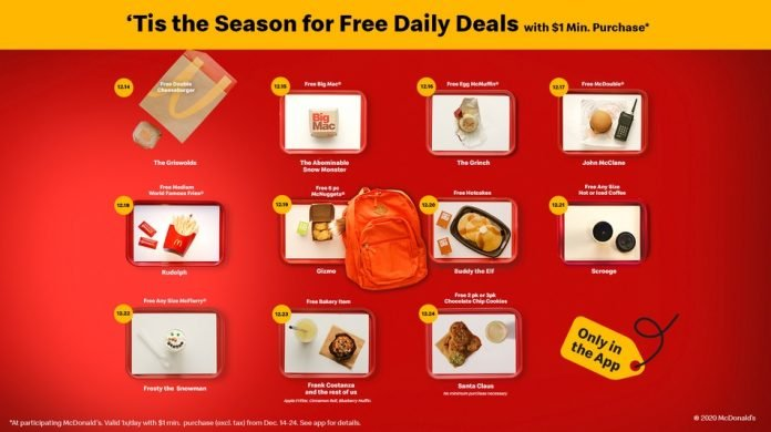McDonald's Offers 11 Days Of Holiday Deals Featuring The Favorite Items Of Iconic Holiday Characters Like Santa, The Grinch, And Buddy The Elf