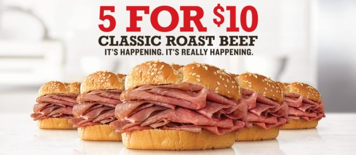 Arby's 5 For $10 Classic Roast Beef Sandwiches Deal Is Back