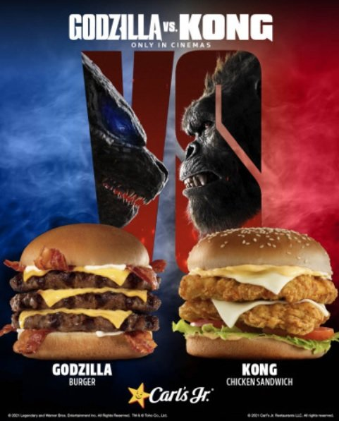 International Carl's Jr. And Hardee's Locations Launch New Godzilla Burger, Kong Burger And Kong Chicken Sandwich