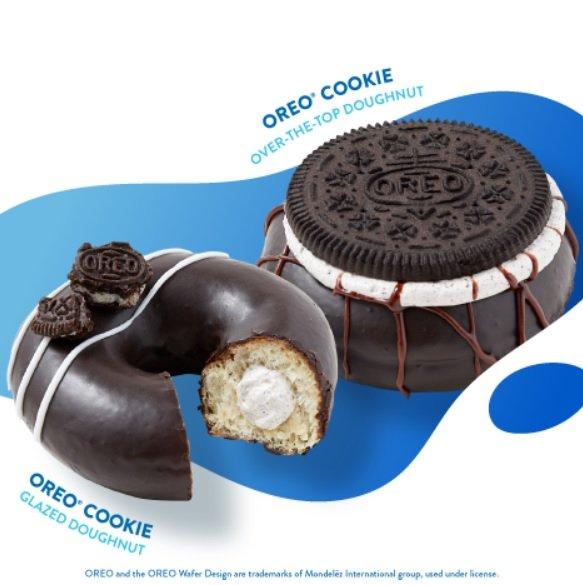 Krispy Kreme Releases New Oreo Cookie Glazed Doughnut And Oreo Cookie Over-The-Top Doughnut