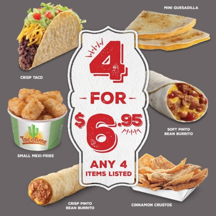 TacoTime Unveils New 4 For $6.95 Deal
