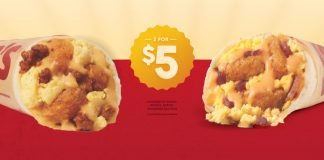 2 For $5 Sausage Or Bacon Meat & Potato Breakfast Burritos Deal At Taco John's