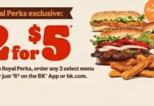Burger King Offers New 2 For $5 Deal For Royal Perks Members