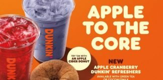 Dunkin' Welcomes New Apple Cranberry Dunkin' Refreshers and New Apple Cranberry Dunkin' Coconut Refreshers