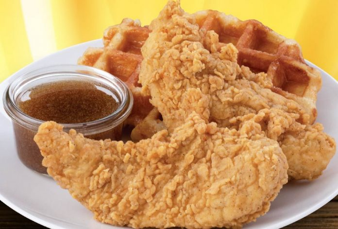 Lee's Famous Recipe Chicken Offers New Chicken And Waffles With Creamy Maple Sauce For A Limited Time
