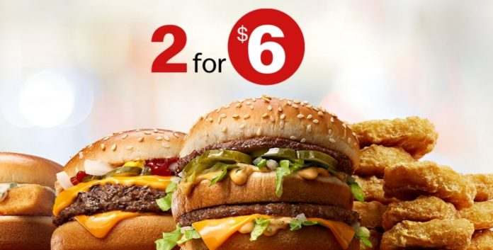 McDonald's Launches New 2 For $6 Mix And Match Deal