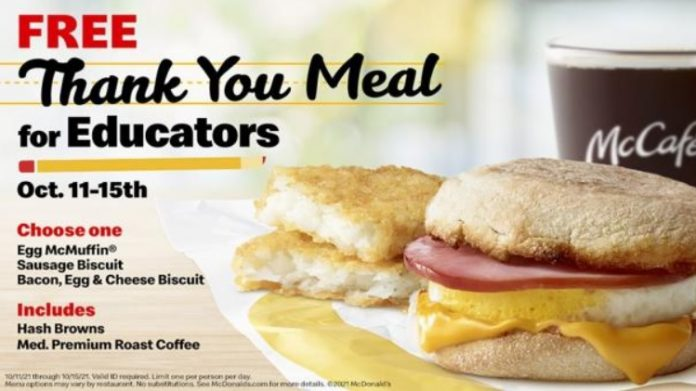 McDonald's Offers Educators Free Breakfast Thank You Meal From October 11 Through October 15, 2021
